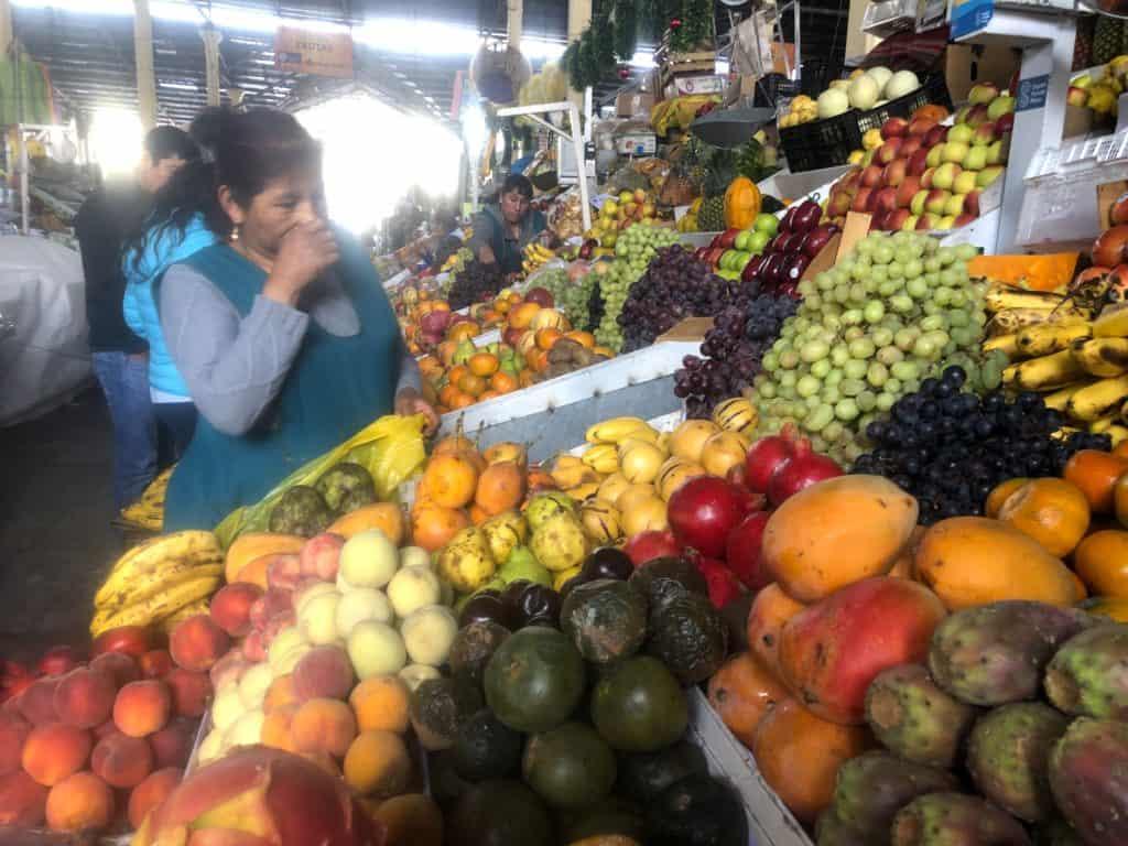 Fruit stand in farmers market in Cusco