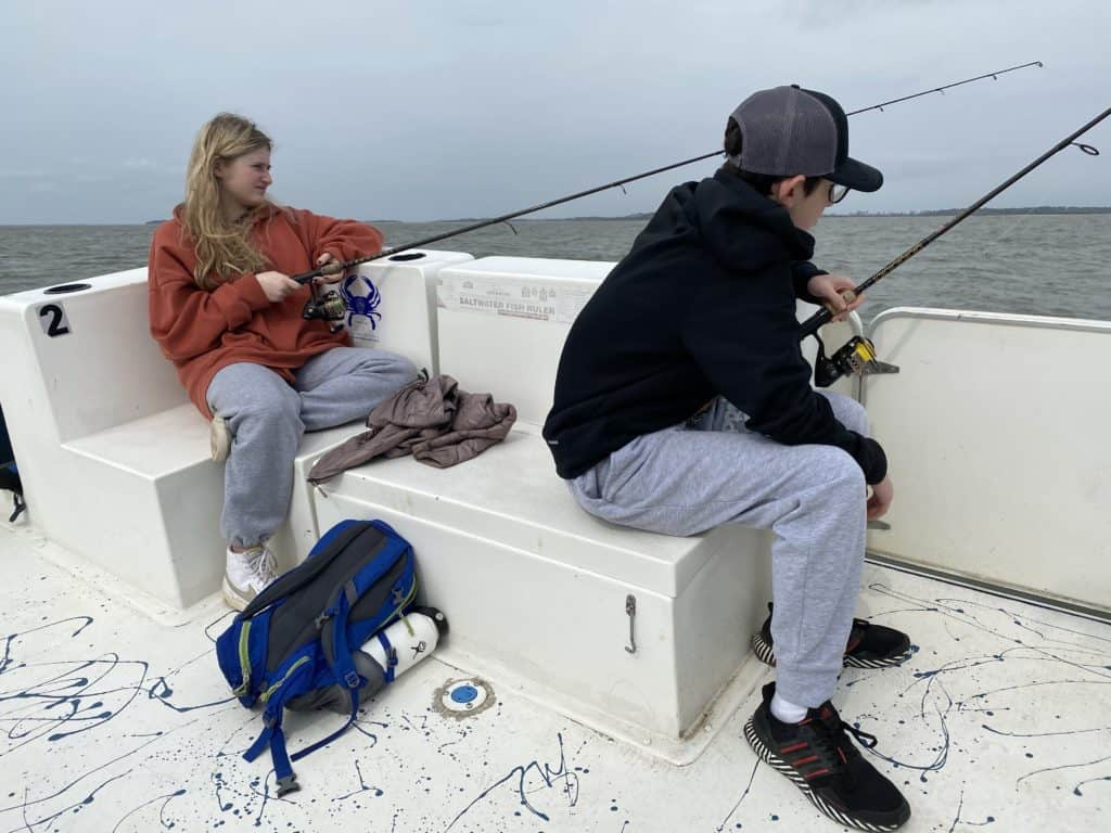 kids fishing in atlantic ocean