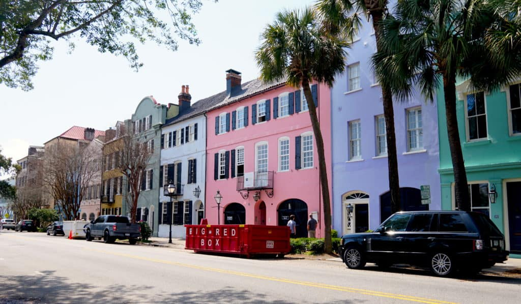 Rainbow colored homes in downtown Charleston, South Carolina