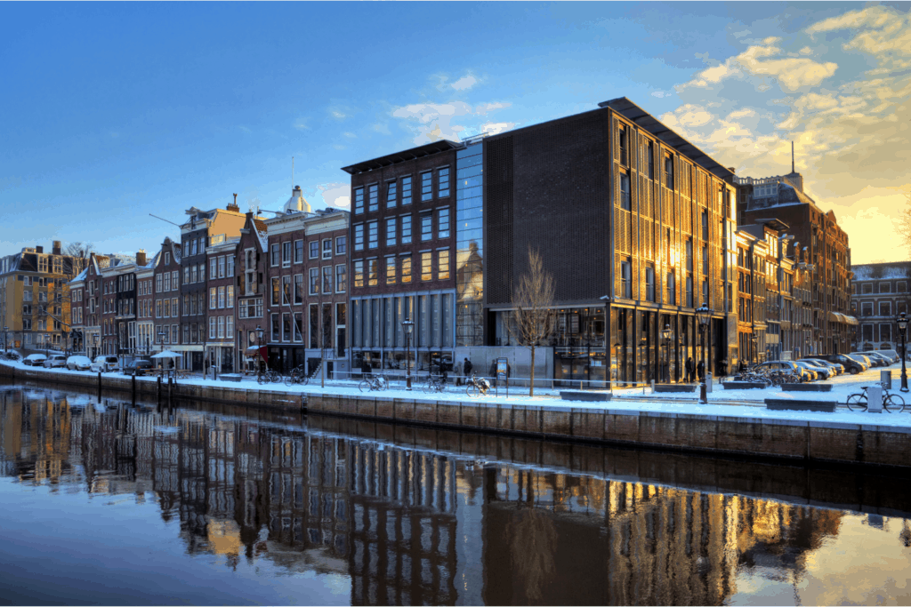 View of the Anne Frank house from the canal
